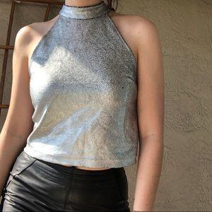 Motel silver foil crop top